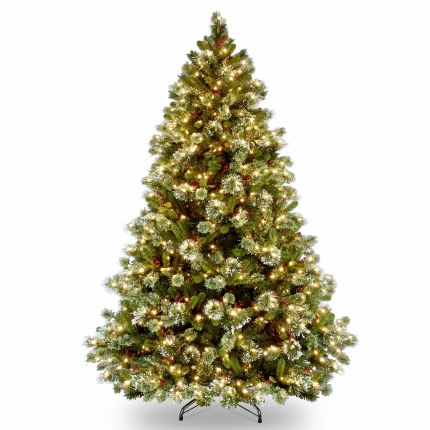 Wintry Pine 7.5 Foot Pre-Lit Artificial Christmas Tree With 600 Warm White Lights & Frosted Tips