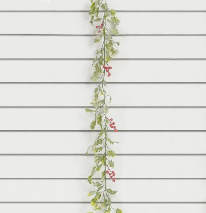 Christmas Frosted Holly with Berries Garland 180cm