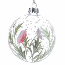 Christmas Bauble Clear Glass with Pink Hellebore