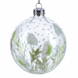 Christmas Bauble Clear Glass with Green Hellebore