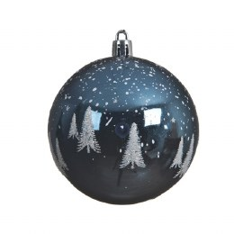 Chirstmas Bauble Night Blue with Glitter 8cm