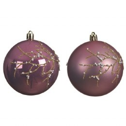 Christmas Bauble Enamel with Gold Glitter Pink 8cm