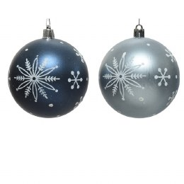 Christmas Bauble Blue or White with Snowflakes 8cm