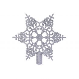 Christmas Tree Topper Silver with Glitter 19cm