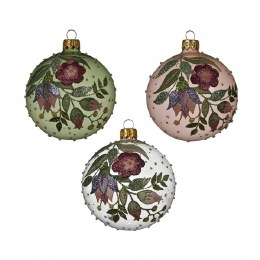 Christmas Bauble Flower Painted 8cm