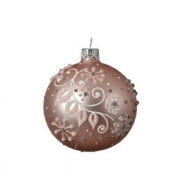 Christmas Bauble Blush Pink with White and Pink Branch 8cm
