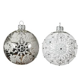 Chirstmas Bauble Transparent with White Snowflakes 8cm