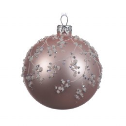 Christmas Bauble Blush Pink with Glitter 8cm