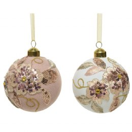 Christmas Bauble Classic White/Pink 10cm