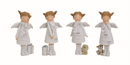 Angel Decoration White with Wings and Gifts 12cm