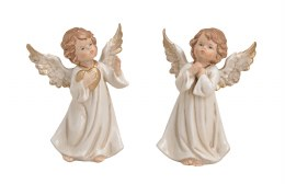 Angel Decoration White with Wings Porcelain 9cm x 7cm x 15cm