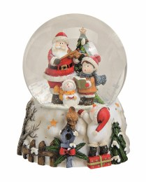 Christmas Snowglobe with Santa and Children with Musicbox 14cm