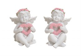 Angel Decoration White with Chaplet and Heart 8cm