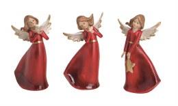 Angel Decoration Red Dress 16cm