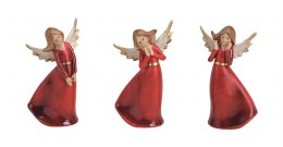 Angel Decoration Red Dress Polyresin 12cm