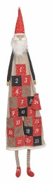 Christmas Advent Calendar Santa in Beige Textile 49cm