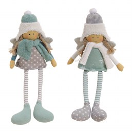 Christmas Plush Girl Sitting in Grey and Green 12cm
