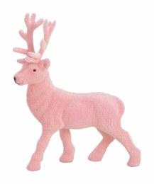 Childrens Christmas Animated Pink Deer in Flocked Plastic 21cm