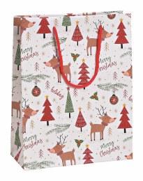 Merry Christmas Giftbag with Moose and Trees 23cm