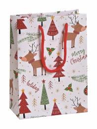 Merry Christmas Giftbag with Moose and Trees 16cm