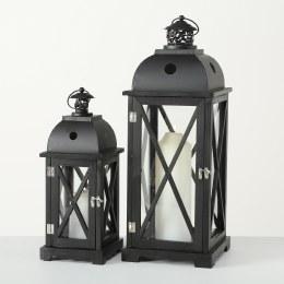 Christmas Lantern Tudor Pinewood Black Large 60cm