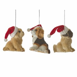 Christmas Dog with Santa Hat Decoration with Hanger 11.5cm