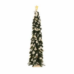 Christmas Village Christmas Tree Frosted with Lights and Star 34cm Battery Operated