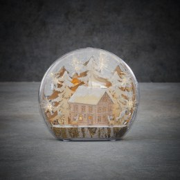 Christmas Winter Scene House with Warm White LED Lights 25cm x 6cm
