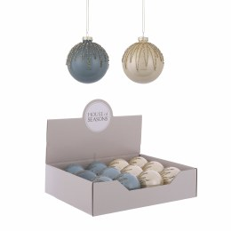 Christmas Bauble Blue or Cream with Hanger 8cm
