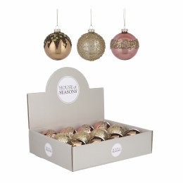 Christmas Bauble Gold or Cream or Pink 8cm