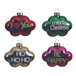 Christmas Text I Love you, Be Happy, Ho Ho Ho, Merry Christmas Decoration with Wire Hanger and Metal Tag
