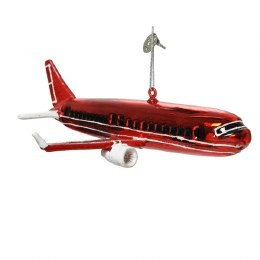 Christmas Decoration Airplane Red 15cm