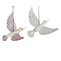 Christmas Decoration Glass Bird With Glitter 12cm