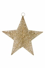 Christmas Decoration Gold Wire Mesh Star with hanger 30x30cm