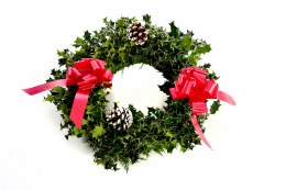 Pre-Order Fresh Holly Wreath Decorated With Red Ribbon 16""