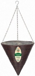 Gardman Rattan Effect Brown Hanging Cone 14 in