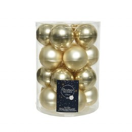 Christmas Baubles Mix Pack of 20 Champagne Enamel and Matt Finish 6cm