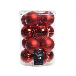 Christmas Baubles Mix Pack of 16 Red Shiny and Matt Finish 8cm