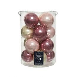Christmas Baubles Mix Pack of 16 Velvet Pink, Blush Pink, Pearl Enamel 8cm