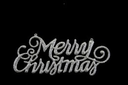 Christmas Sign Silver Glitter Merry Christmas Sign with Hanger