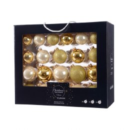 Christmas Baubles Light Gold Glitter and Pearl Enamel Mix pack of 42