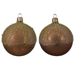 Christmas Bauble Camel Brown Shiny or Matt with Ballot Top 8cm
