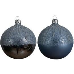Christmas Bauble Deep Blue Shiny or Matt with Ballot Top 8cm