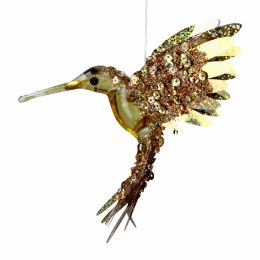 Christmas Decoration Gold Foil Beaded Hummingbird with hanger 15x11cm