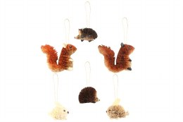 Christmas Decoration Bristle Animal with hanger 7cm