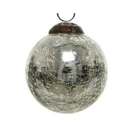 Christmas Bauble Crackle Silver 10cm