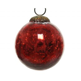 Christmas Bauble Crackle Red 10cm