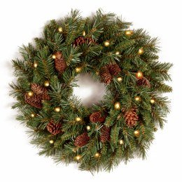 20 Inch Pine Cone Wreath With 50 Warm White Lights - Battery Operated