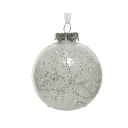 Christmas Bauble Shatter Proof White Snowflake with White Organza Wire and Silver Cap 10cm