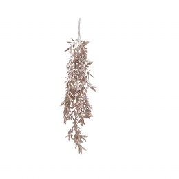 Champagne Hanging Leaves with Metalic Finish and Glitter 70cm